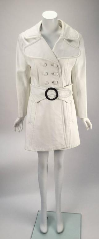 1960s Mod White Leather Trench Coat At 1stdibs