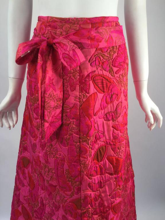 Wonderful 1970s Thai Silk Pink Butterly Printed Quilted Maxi Skirt  In Good Condition For Sale In Houston, TX