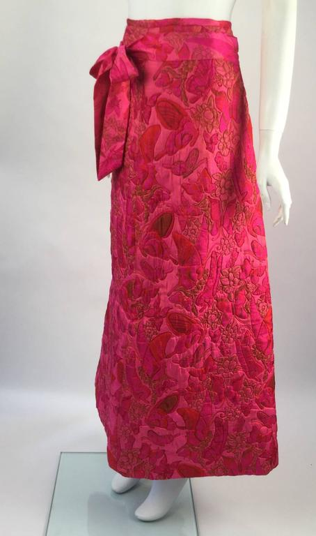 Women's Wonderful 1970s Thai Silk Pink Butterly Printed Quilted Maxi Skirt  For Sale