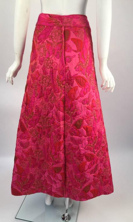 Wonderful 1970s Thai Silk Pink Butterly Printed Quilted Maxi Skirt  For Sale 1
