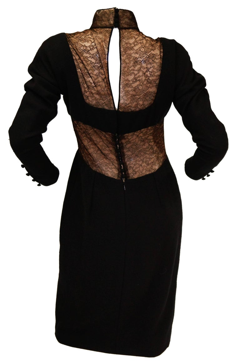 1980's Carolyne Roehm Black Wool Dress with Fine Lace Detail For Sale 1