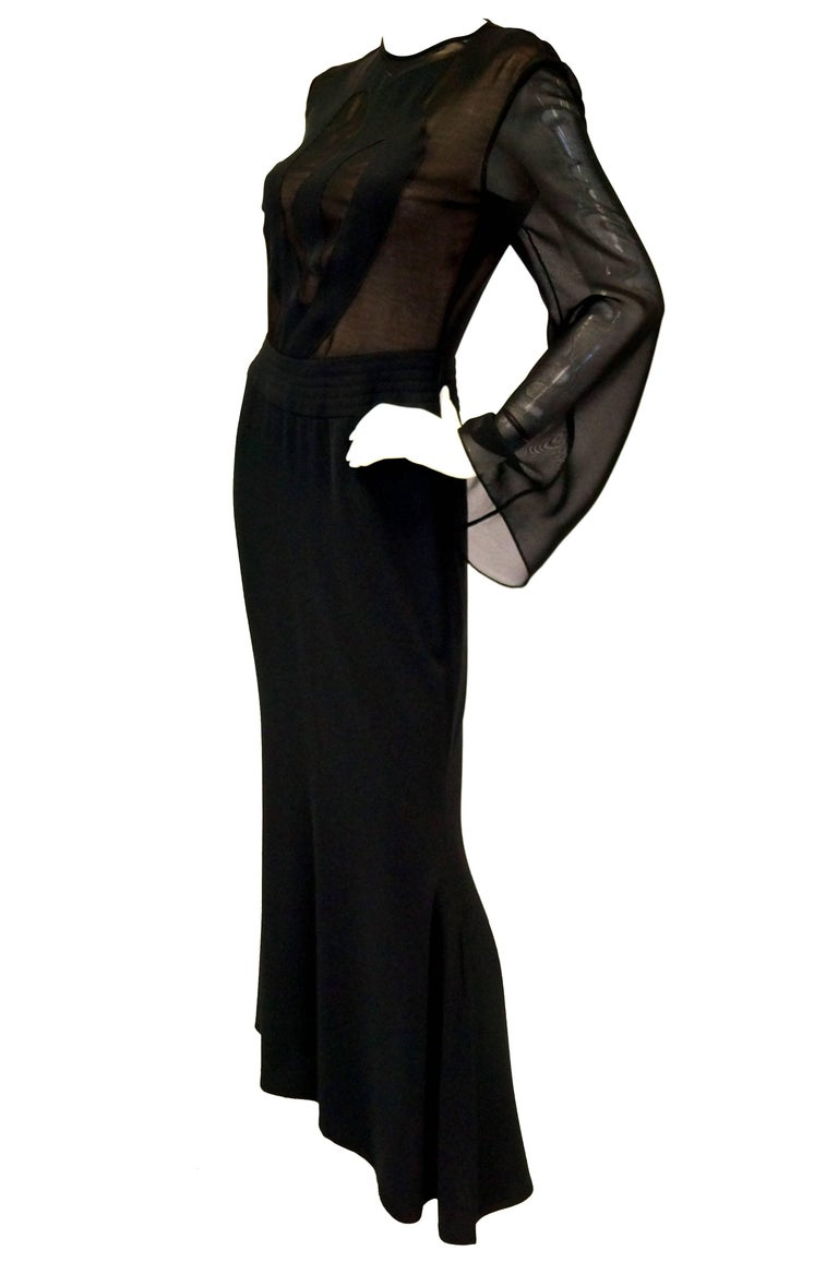1990s Kathryn Dianos Black Crepe Evening Dress In Excellent Condition For Sale In Houston, TX