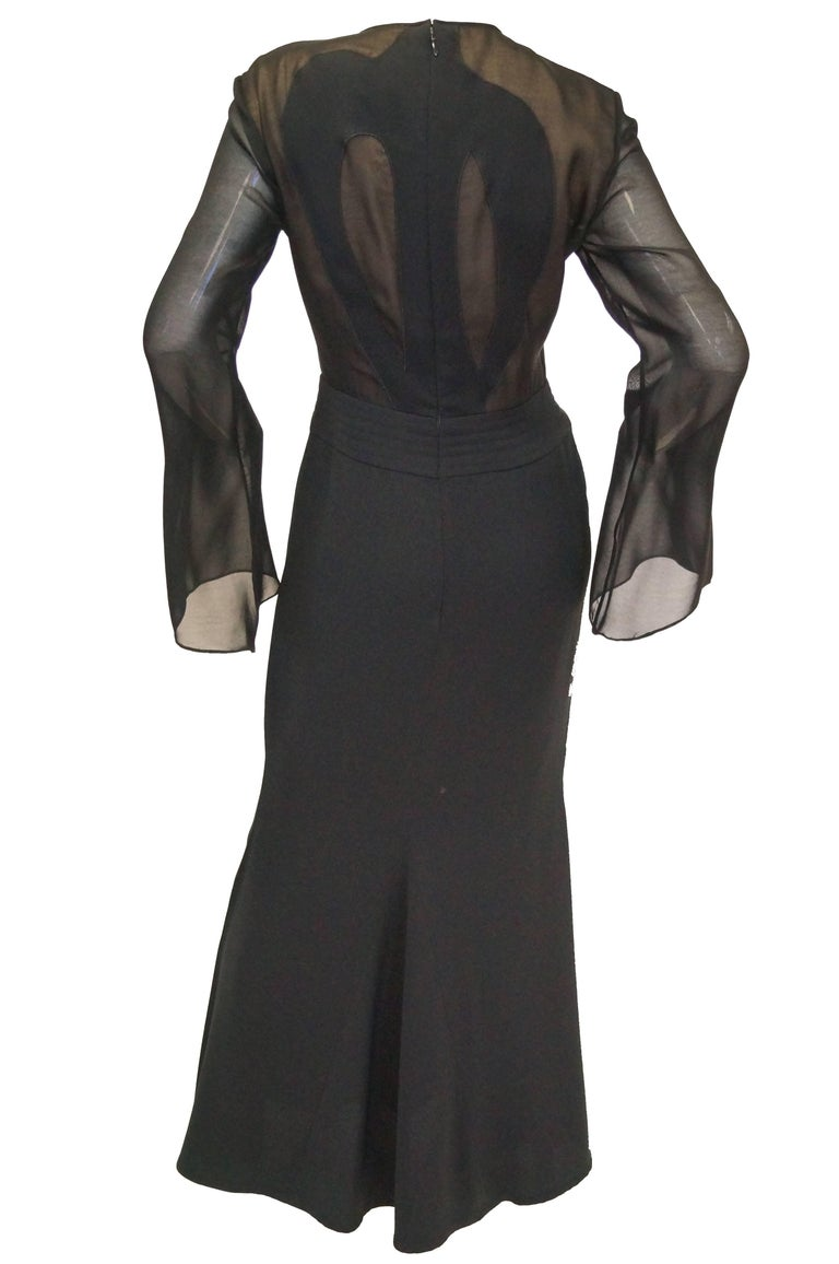 Women's 1990s Kathryn Dianos Black Crepe Evening Dress For Sale