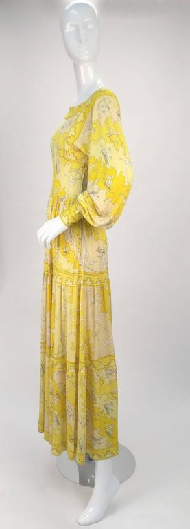 Beige Emilio Pucci Yellow Silk Knit Abstract Olympic Print Maxi, 1970s  For Sale