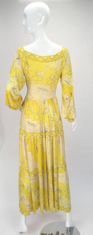 Emilio Pucci Yellow Silk Knit Abstract Olympic Print Maxi, 1970s  In Good Condition For Sale In Houston, TX