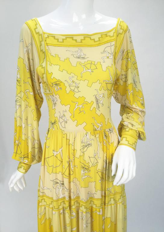 Women's Emilio Pucci Yellow Silk Knit Abstract Olympic Print Maxi, 1970s  For Sale