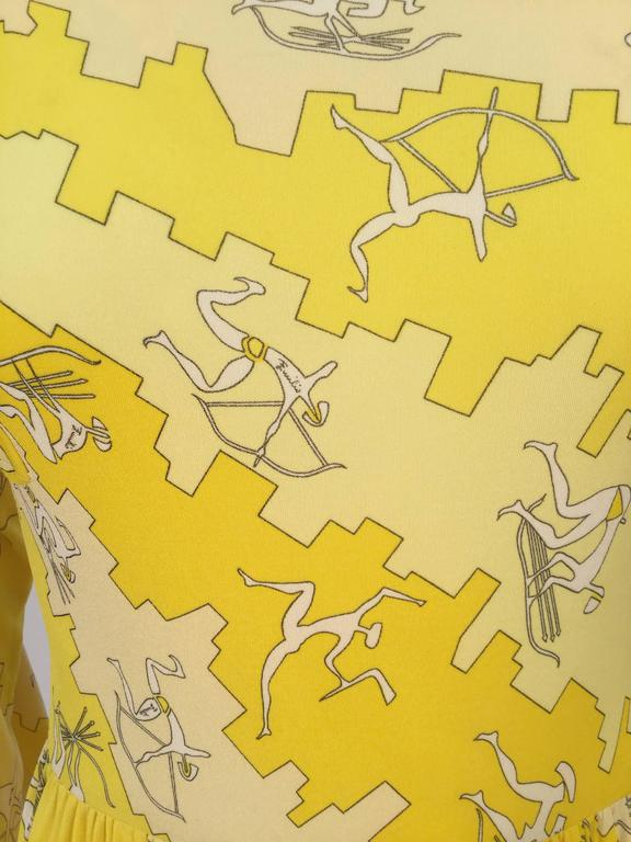 Emilio Pucci Yellow Silk Knit Abstract Olympic Print Maxi, 1970s  For Sale 1