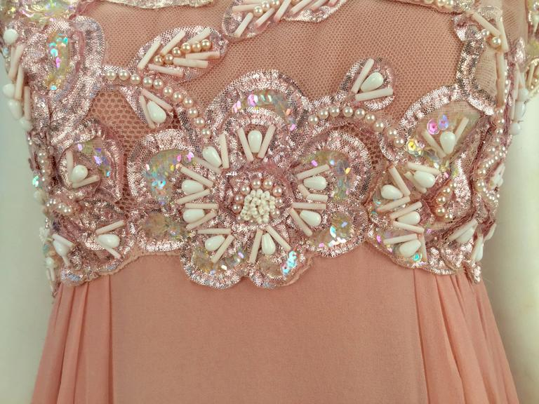 Women's 1960s Helen Rose Silk Pink Beaded Evening Gown   For Sale