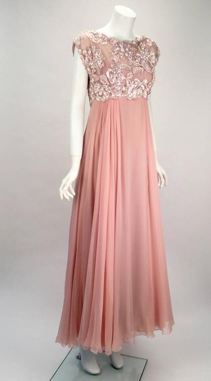 Beige 1960s Helen Rose Silk Pink Beaded Evening Gown   For Sale