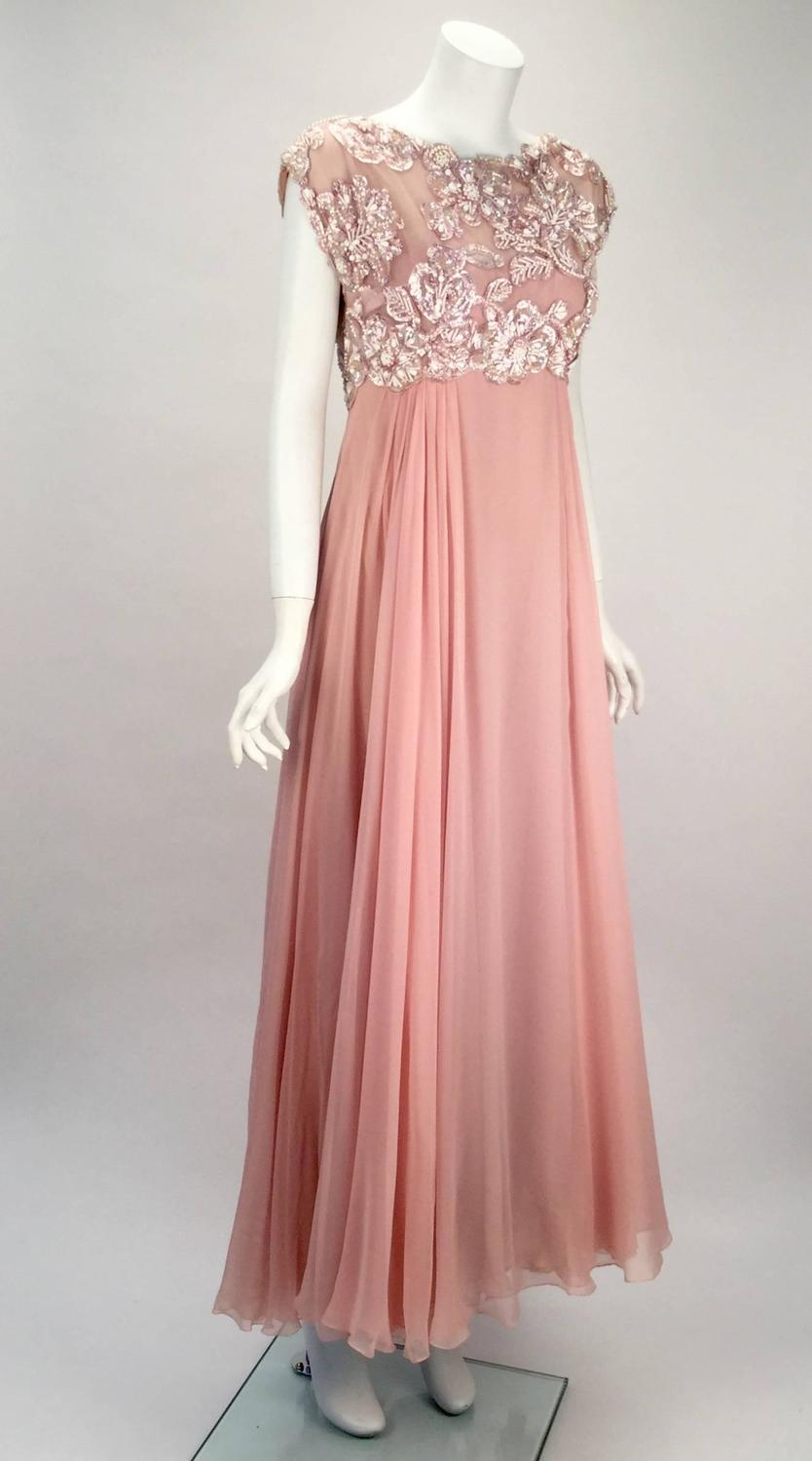 1960s Helen Rose Silk Pink Beaded Evening Gown For Sale At
