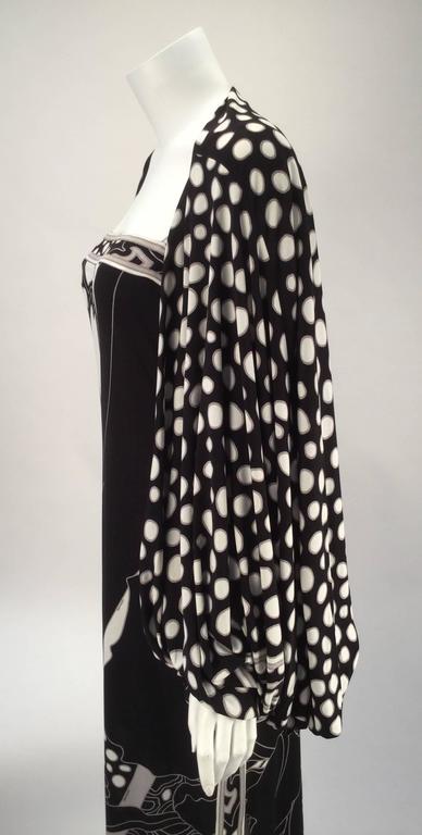 Black Leonard Paris Silk Knit Spaghetti Strap Column Gown with Cocoon Shrug, 1960s  For Sale