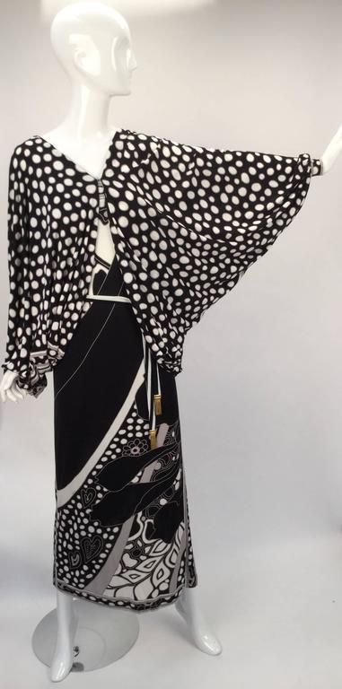1960s Leonard Paris Silk Knit Spaghetti Strap Column Gown with Cocoon Shrug 9