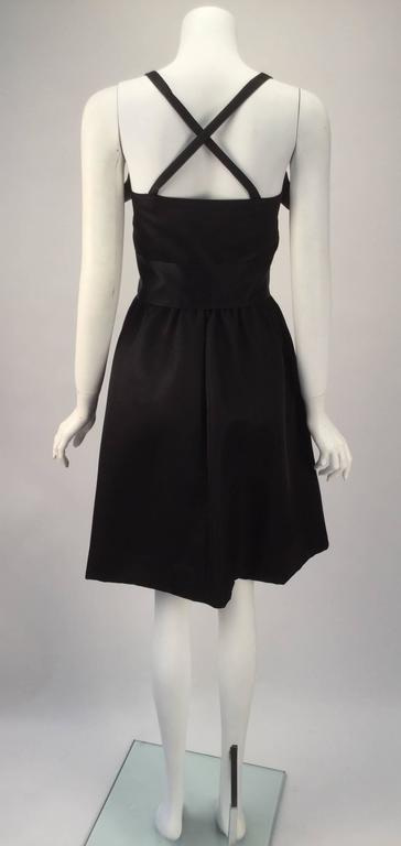 Women's 1970s Geoffrey Beene Black Satin Dress with Pockets For Sale