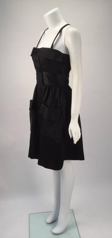 1970s Geoffrey Beene Black Satin Dress with Pockets In Excellent Condition For Sale In Houston, TX