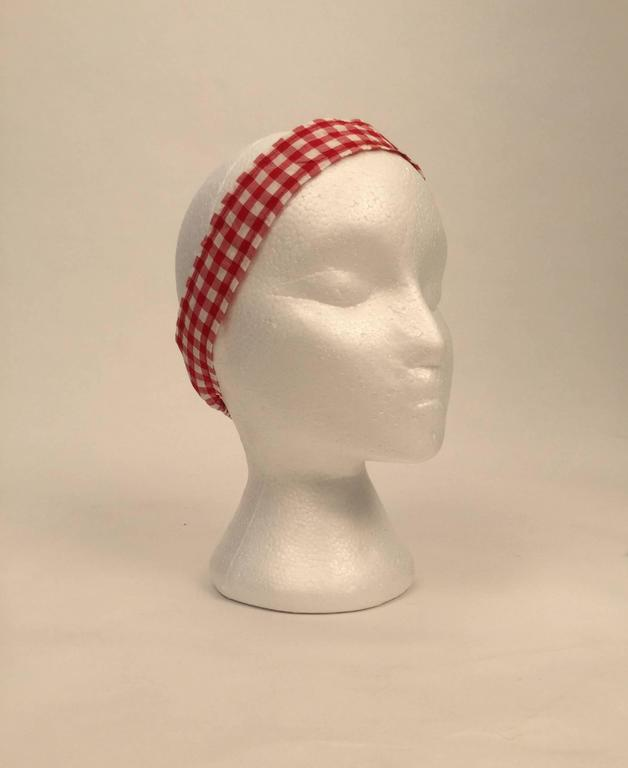 Women's Cole of California White and Red Checkered Print Bikini with Headband, 1960s  For Sale