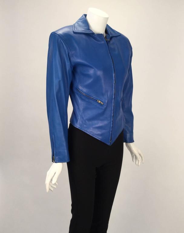 cd32c7bd2d Yves Saint Laurent Blue Leather Jacket and Skirt Ensemble, 1980s