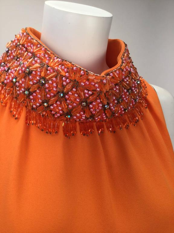 Women's Gino Charles by Malcolm Starr Silk Orange Tunic, 1960s  For Sale
