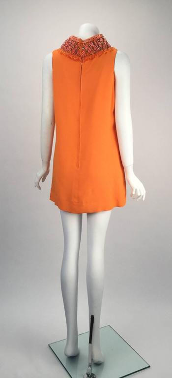 Gino Charles by Malcolm Starr Silk Orange Tunic, 1960s  In Good Condition For Sale In Houston, TX