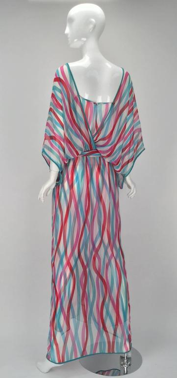 Giorgio Sant' Angelo Silk Chiffon Ribbon Maxi Dress In Excellent Condition For Sale In Houston, TX