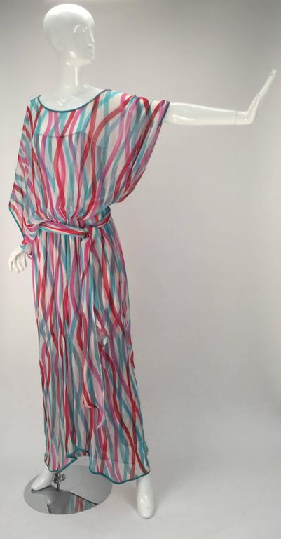 Giorgio Sant' Angelo Silk Chiffon Ribbon Maxi Dress For Sale 2