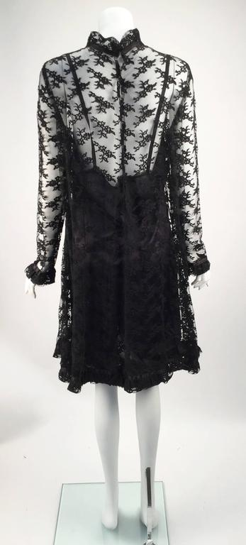 Black Chantilly Lace Custom Vintage Knee Length Dress, 1960s   For Sale 2