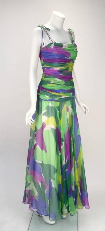 1990s Silk Abstract Evening Gown 4