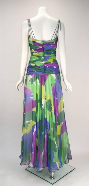 1990s Silk Abstract Evening Gown 5