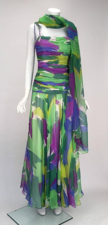 1990s Silk Abstract Evening Gown 7