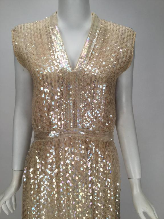 1960s Fred Perlberg Iridescent Ivory Sequined Evening