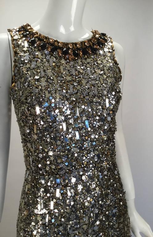 Black Oscar de la Renta Sequined Constellation Evening Gown For Sale