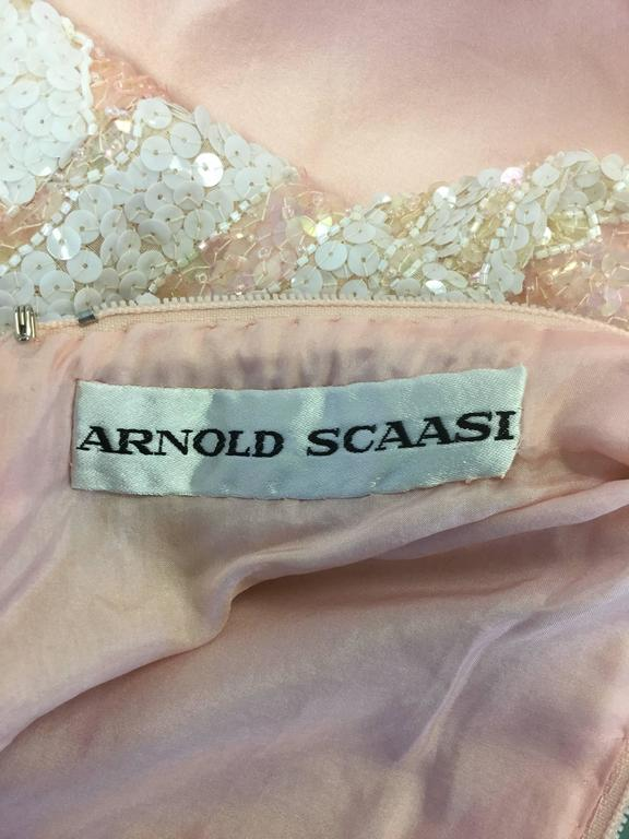 1960s Arnold Scaasi Pink Silk and Sequin Evening Dress  For Sale 1