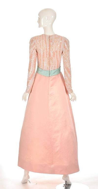 Orange 1960s Arnold Scaasi Pink Silk and Sequin Evening Dress  For Sale