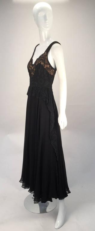 1940s Black Silk Evening Dress with Lace Overlay 2