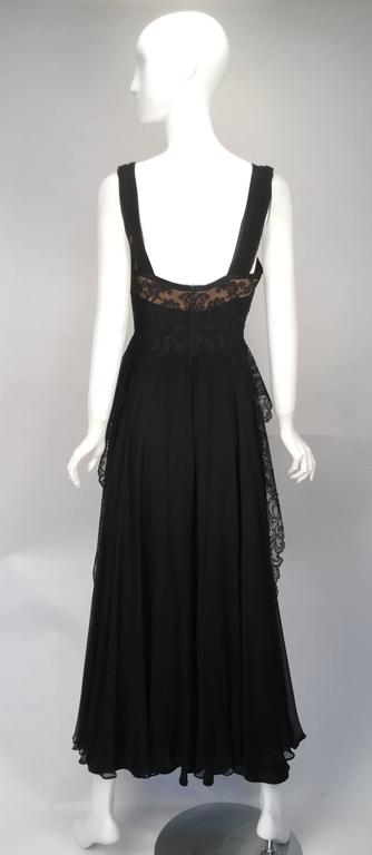 1940s Black Silk Evening Dress with Lace Overlay 3