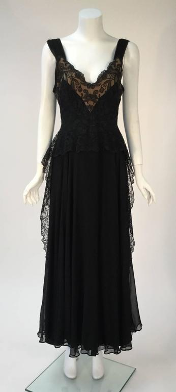 1940s Black Silk Evening Dress with Lace Overlay 4