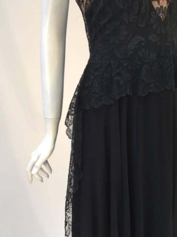 1940s Black Silk Evening Dress with Lace Overlay 7