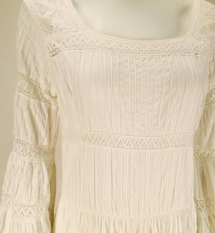 1970s Made in Mexico for Fred Leighton White Summer Dress 5