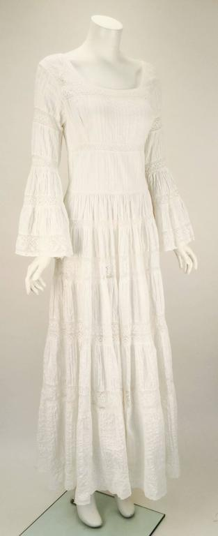 1970s Made in Mexico for Fred Leighton White Summer Dress 4