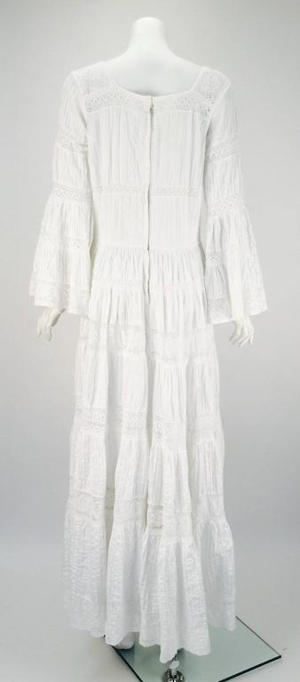 1970s Made in Mexico for Fred Leighton White Summer Dress 3