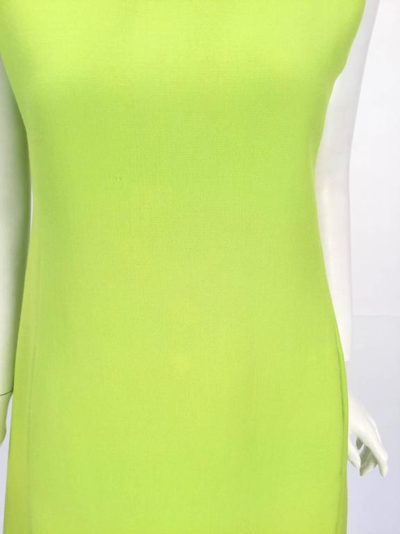 Women's 1960's Joan Leslie for Kasper Lime Green Sleeveless Shift Dress  For Sale