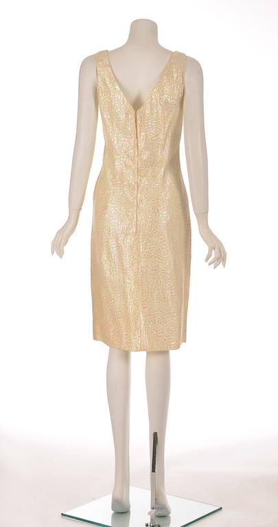 Beige 1970s Lilli Diamond Iridescent Sleeveless Cocktail Dress  For Sale