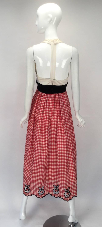 1970s Custom Halter Dress With Gingham Print Skirt For