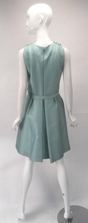 Gray 1960s Geoffrey Beene Seafoam Green Silk Sleeveless Cocktail Dress For Sale