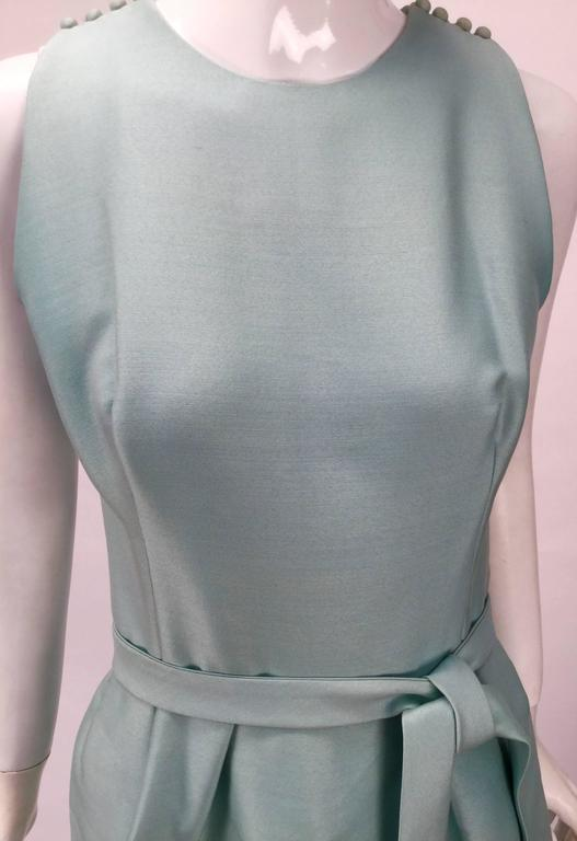 1960s Geoffrey Beene Seafoam Green Silk Sleeveless Cocktail Dress In Good Condition For Sale In Houston, TX