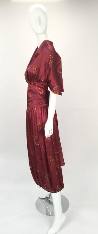 Gorgeous 1970s Marina Ferrari Silk Multicolored Circle Print Wrap Dress  2