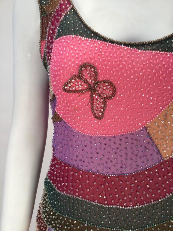80s Hanae Mori Silk Multicolored Butterfly Print Three Piece Skirt Ensemble 2