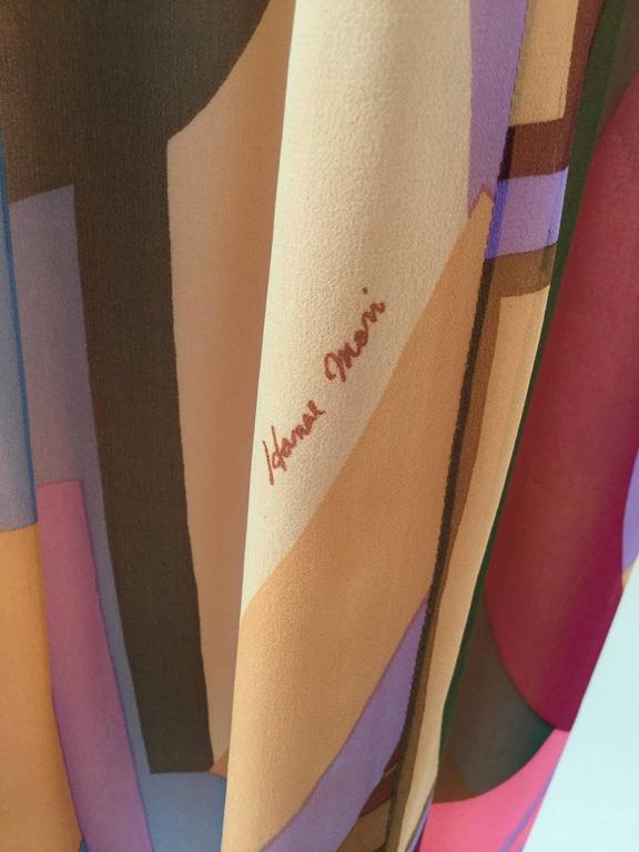 80s Hanae Mori Silk Multicolored Butterfly Print Three Piece Skirt Ensemble 7