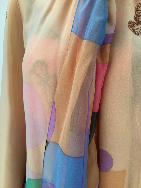80s Hanae Mori Silk Multicolored Butterfly Print Three Piece Skirt Ensemble 8