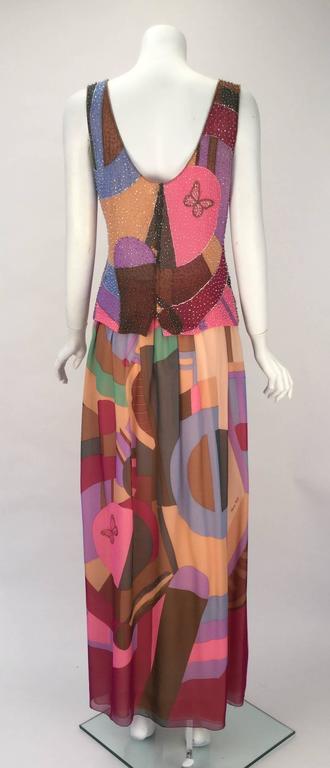 80s Hanae Mori Silk Multicolored Butterfly Print Three Piece Skirt Ensemble 4