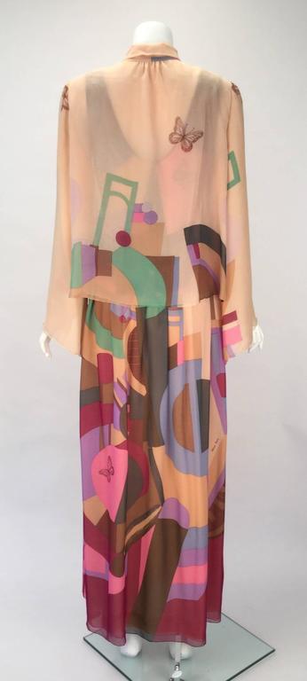 80s Hanae Mori Silk Multicolored Butterfly Print Three Piece Skirt Ensemble 6